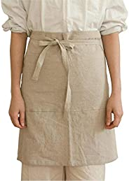 Soft Adjustable Linen Apron for Cooking Baking Kitchen with Big Pocket and Long Strap Arts and Crafts Apron