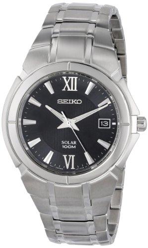 Seiko Solar Date Window Black Dial Men's watch #SNE087