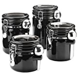 Oggi 4-Piece Round Airtight Ceramic Canister Set with Stainless Steel Spoon, Black