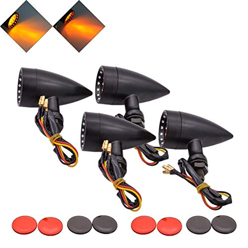 NATGIC 4PCS Turn Signal Light Amber/Yellow Light Black Bullet Metal Motorcycle Turn Signals Indicator Running Light Front Rear Tail Light for Harley Honda Kawasaki Suzuki Yamaha