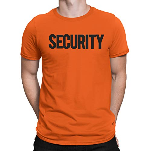 NYC FACTORY Security T-Shirt Front Back Print Mens Tee Staff Event Uniform Bouncer Screen Printed (Orange-Black, Large) -