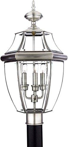 (Quoizel NY9043P Newbury Outdoor Post Lantern Pier Mount Lighting, 3-Light, 180 Watts, Pewter (23