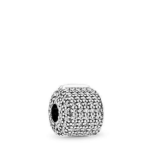 PANDORA Pavé Barrel Clip Charm, Sterling Silver, Clear Cubic Zirconia, One Size