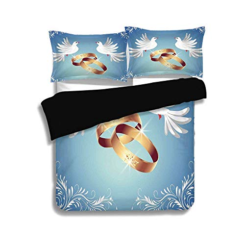 Cover Set Twin Size,Wedding Decorations,Card Inspired Design with Floral Ornaments Two White Birds Rings,Blue Gold White,3 Pcs Fashion Bedding Set ()