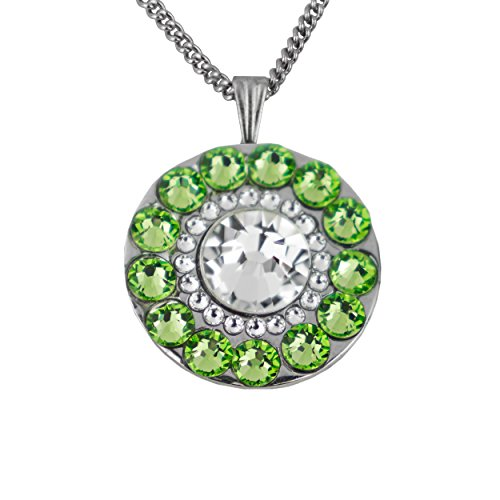 (Girls Golf Bling Swarovski Crystal Golf Ball Markers with Magnetic Necklace - Premium Golf Gifts for Women (Turtle Bay Peridot Green))