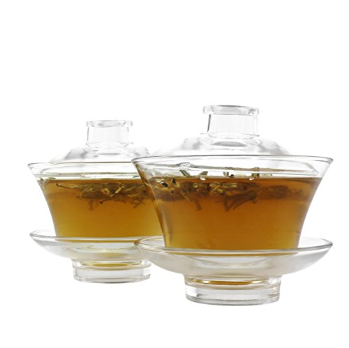 Clear Glass Gaiwan Sets (2 Sets) w/ 2 Tea Cups, Lids & Saucers; Traditional Chinese Teapots for Brewing, Each 175ml / 6oz Capacity (6-piece set)