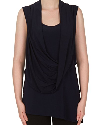 Joseph Ribkoff Drape Neck Midnight Blue Sleeveless Tunic Style 172063 Size 16 by Joseph Ribkoff