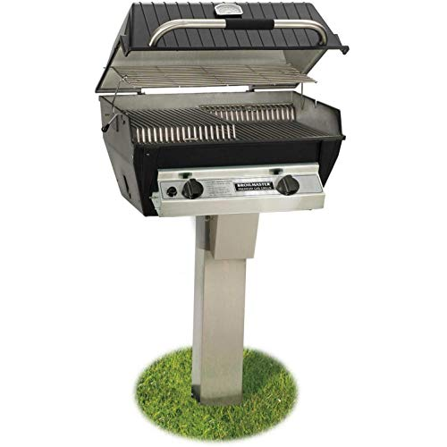 (Broilmaster R3B Infrared Combination Propane Gas Grill On Black Patio Post With Cast Iron)