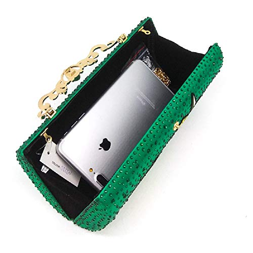 Lady's Women Shoulder Banquet Evening Wedding Green Handbag Green Bag BESTWALED Clubs Bag Glitter Fleur Rhinstone Lady Parties for Bag Sliver qw0Fxdzf