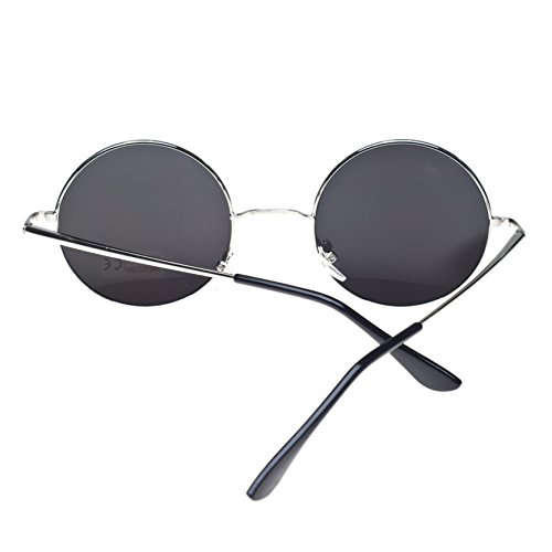 4sold ochentero Negro silver cristales de ahumados con diseño TM Gafas sol negro mirror unisex lennon 8aqvwxnaOr
