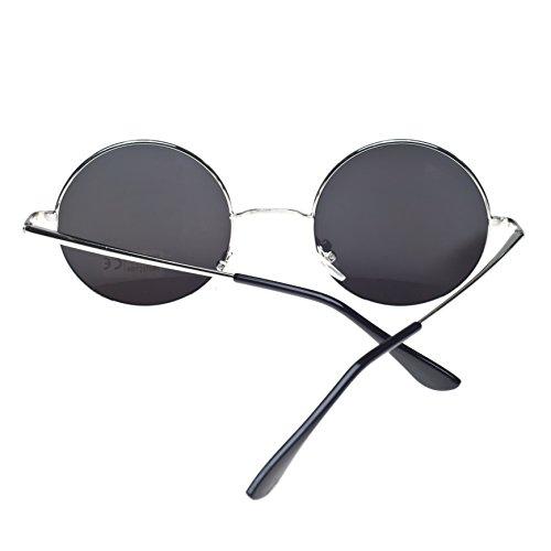 Negro mirror negro lennon cristales sol TM 4sold silver ahumados ochentero de diseño unisex Gafas con wP6tpX7qxv
