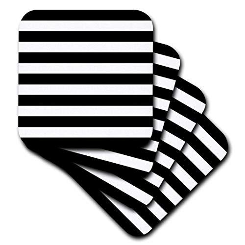 3dRose CST_56663_1 Stylish Contemporary Stripes Black & White Striped Pattern Aka Breton Stripe Soft Coaster (Set of -