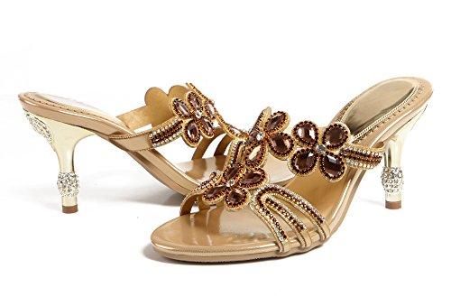 Honeystore Frauen Blumen Funkelnde Glitzer Stöckel Absatz Peep Toe Sandalen mit Strass Kristall Schuhe Gold