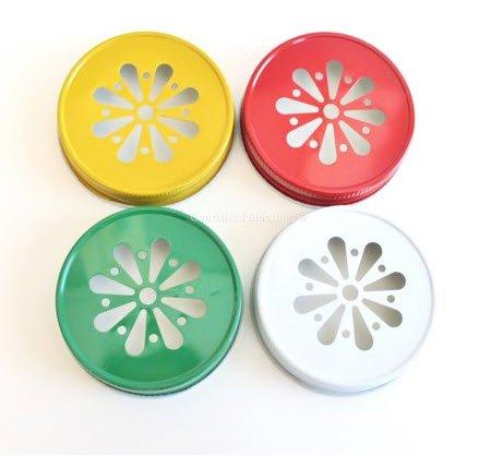 Bulk White Daisy Cut Out Mason Jar Lids - Wedding or Event [set of 100]