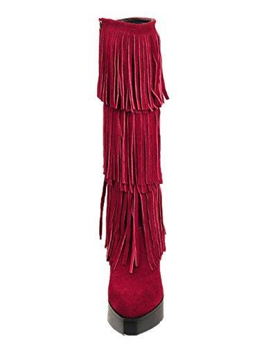 Cerniera Nappa Nubuck Hooh 8099 Delle Rosso Con Cavaliere Stivali Donne 2 EP6wnxqRIW