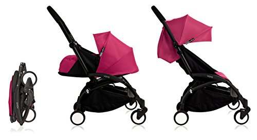 BabyZen Yoyo+ Stroller Bundle - Black Frame, Pink Fabric (Yoyo+ Stroller, Canopy, & Newborn Set)