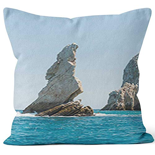 Nine City Lands End Rock Formation Cabo San Lucas Home Decorative Throw Pillow Cover,HD Printing Square Pillow case ()