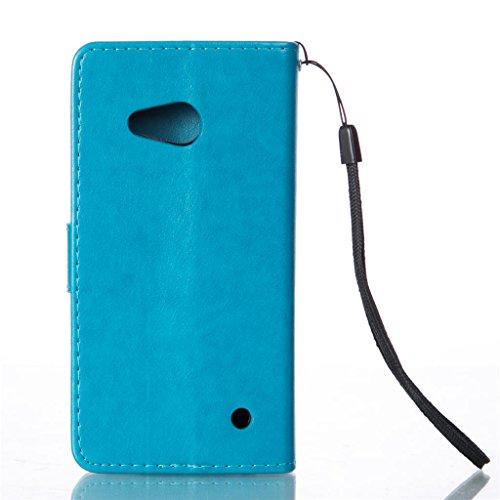Erdong® Magnético Folio Flip Caso Con pata de cabra titular de la tarjeta Para Microsoft Lumia 550, Elegant Simple Book-style [Azul flor de mariposa] patrón de impresión cuero del soporte Folio Pouch