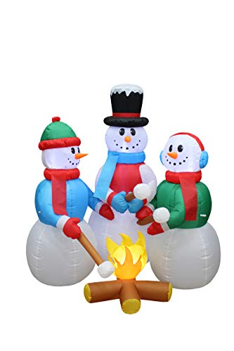 5 Foot Tall Huge Christmas Inflatable Snowmen Snowman Campfire Camping Roasting Marshmallows LED Lights Outdoor Indoor Holiday Decorations Blow up Lawn Inflatables Home Family Decor Yard Decoration ()