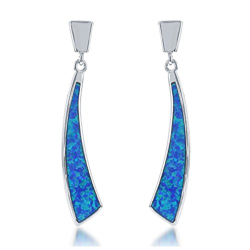 Sterling Silver Created Blue Opal Curved Earrings