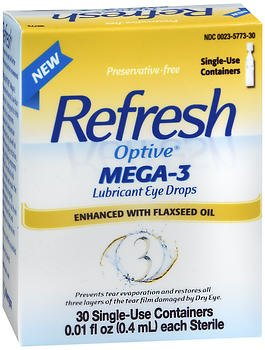 Refresh Optive Mega 3 Preservative Free Eye Drops - 30 each (Pack of 4)