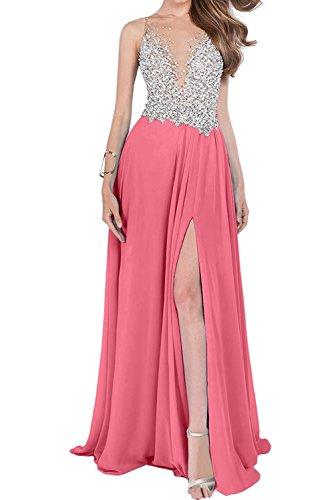 La_mia Braut Damen Luxurioes Steine Abendkleider Jugendweihe Kleider Partykleider mit Beige Schlitze Wassermelon SBbMdS