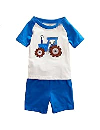 Hooyi Baby Boy Sleepwear Cotton Children Short Sleeve Tractor Pajamas Set