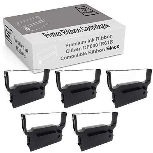 MARS POS Ribbons Compatible with Citizen DP600 Black Ribbon IR61B (Black, 5 Pack)