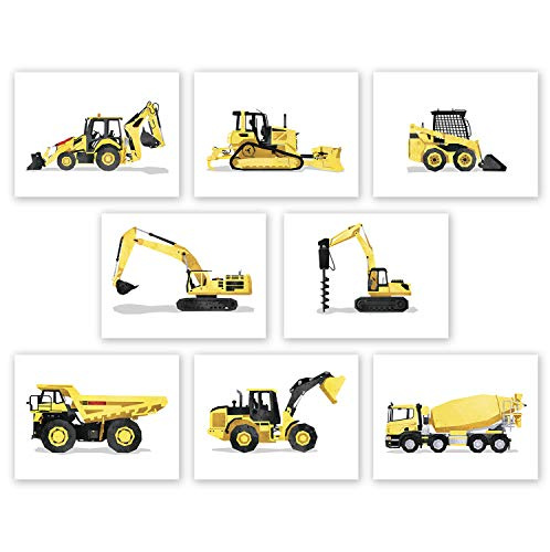 AtoZStudio Construction Wall Art – Set of 8 Prints // Boys Trucks Posters // Toddler Boy Room Decor // Truck Nursery // Party Decoration (8×10, Set 8)
