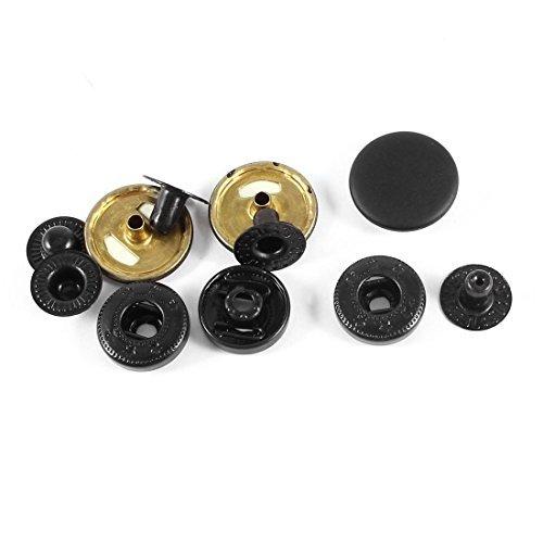 eDealMax Rond de mtal boutons  Pression Appuyez sur le Bouton Stud 17mm 3 Sets Noir