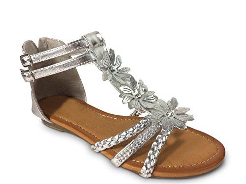 Schuhtraum Damen Sandalen Blumen Glitzer Nieten Sandaletten Keilabsatz Riemchen ST8 Silber