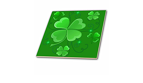 Patricks Day-Quilt Square 6 by 6-Inch 3dRose qs/_11678/_2 This Design is of Some Lucky Shamrocks Just in Time for St