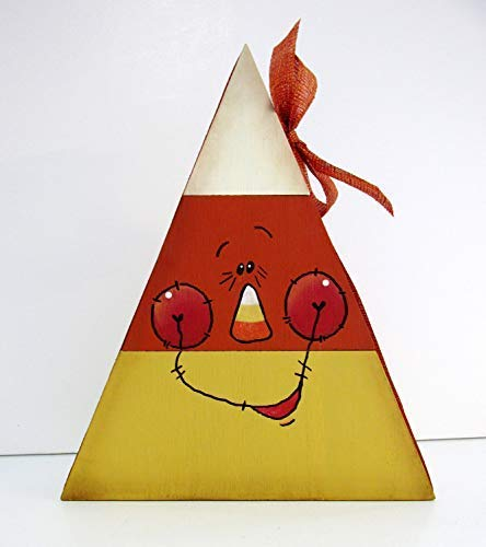 Burkewrusk Whimsical Face Candy Corn Stacked Wood Candy Corn Trick Or Treat Candy Corn Reversible Candy Corn Tole Printed Halloween Quote Decorative Home Sign Hanging Door Sign -