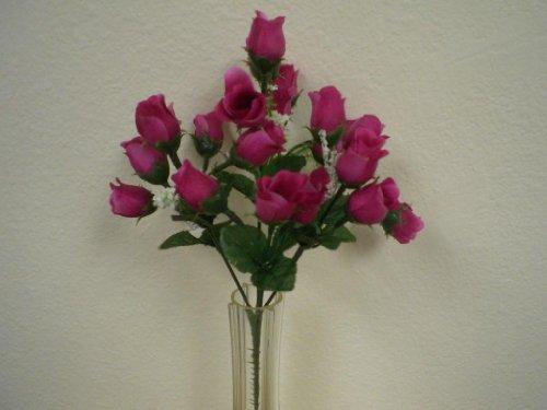 4 Bushes FUCHSIA Mini Rose Buds Artificial Silk Flower 12