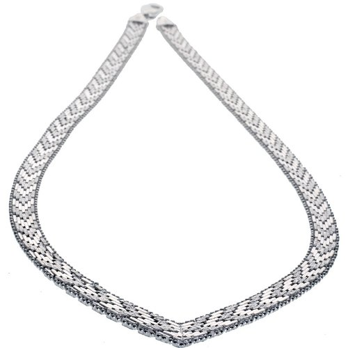 Sterling Silver Italian Riccio V Necklace 7-Row 1/4 inch wide, 18 inch by Sabrina Silver
