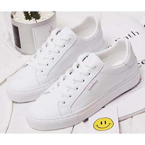 ZHZNVX Zapatillas Mujer Confort Zapatillas de Microfibra Primavera y Otoño con tacón Plano Blanco White