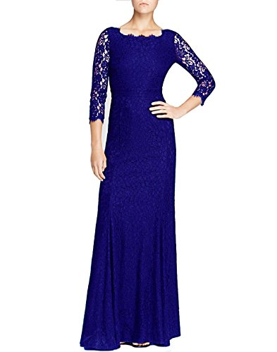 Viwenni Women's Lace 2/3 Sleeves Long Bridesmaid Prom Homecoming Gown Long Dress(Darkblue,XL)