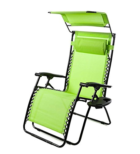 Plow Hearth Outdoor Deluxe Zero Gravity Chair with Canopy, Adjustable Patio Recliner with Table and Drink Holder, 65 L x 29.5 W x 44 H – Green