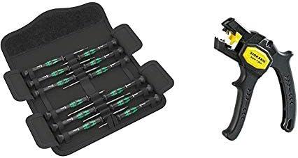 Wera Kraftform Micro Elektroniker Schraubendrehersatz, 12-teilig, 05073675001 & Jokari 20050 Abisolierzange Super 4 plus