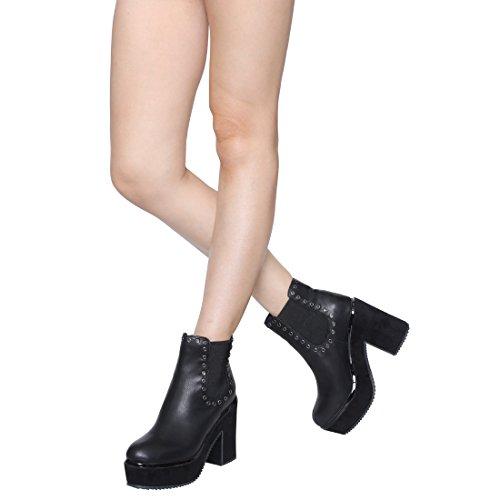 Beston Fm18 Stivaletto Alla Caviglia Da Donna Con Tacco Metallizzato E Tacco Metallico Nero