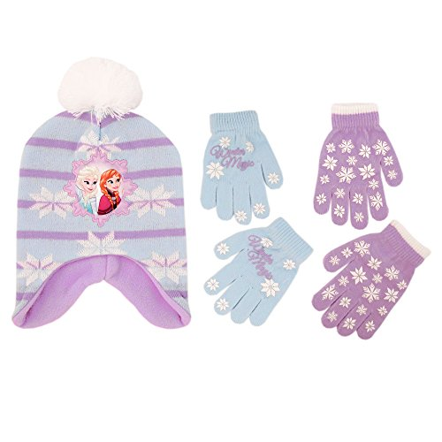 Disney Little Girls Frozen Elsa and Anna Hat and 2 Pair Mittens or Gloves Cold Weather Accessory Set, Age 2-7 (Little Girls Age 4-7 Hat & 2 Pair Gloves Set)