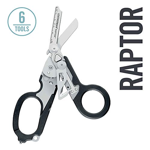LEATHERMAN - Raptor Emergency Response Shears with Strap Cutter and Glass Breaker, Black with Utility Holster (FFP) ()