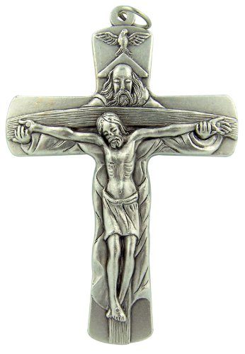 Religious Art Made in Italy Holy Trinity Cross 4 Inch Silver Tone HUGE Bishop Minister Pectoral Crucifix Pendant