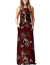 ZIOOER Women Printed Casual Loose Pocket Long Dress Sleeveless Maxi Dresses