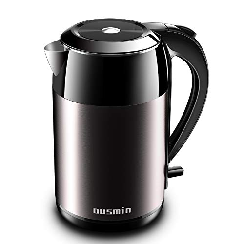 Electric Kettle, OUSMIN 1.8L Stainless Steel Double Wall Tea Kettle 100% BPA-Free Cool Touch Water Boiler 1500W Fast Boiling Heater Cordless with Auto Shut-Off, Overheating and Boil Dry Protection
