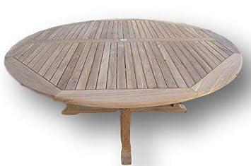 Dorchester Solid Teak 1 8m 6ft Round Cross Leg Garden Table Circular 6 8 Seater
