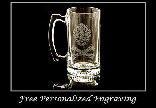 Celtic Pirate 27oz Clear Glass Stein: Free Personalized Engraving