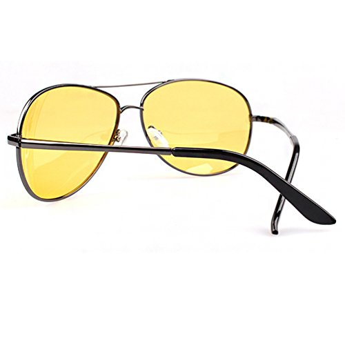 Eyewear Lentille Aviateur Lunettes Protection UV Hommes de Cadre Femmes Métal Argent Soleil Jaune Sunglasses Polarisées Cadre LINNUO 8z7qq