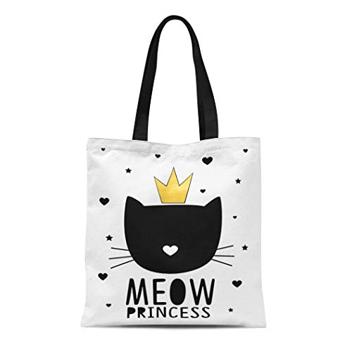 Semtomn Canvas Tote Bag Abstract Meow Princess Cat Animal Beautiful Beauty Black Cartoon Durable Reusable Shopping Shoulder Grocery Bag