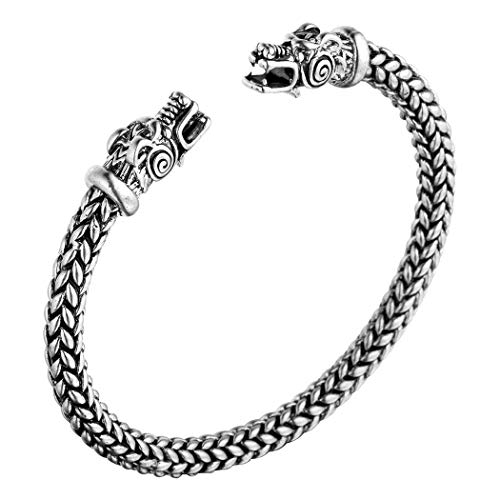 AILUOR Men's Double Head Dragon Bracelet, Norse Viking Adjustable Stainless Steel Gold Sliver Cuff Cool Polished Twisted Arm Ring Cable Bangles Pagan Jewelry (Silver) ()